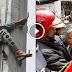 فيديو .. إنقاذ سيدة حاولت الانتحار من أعلى عمود كهربائي بالرباط