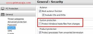 mematikan antivirus yang melindungi perubahan hosts