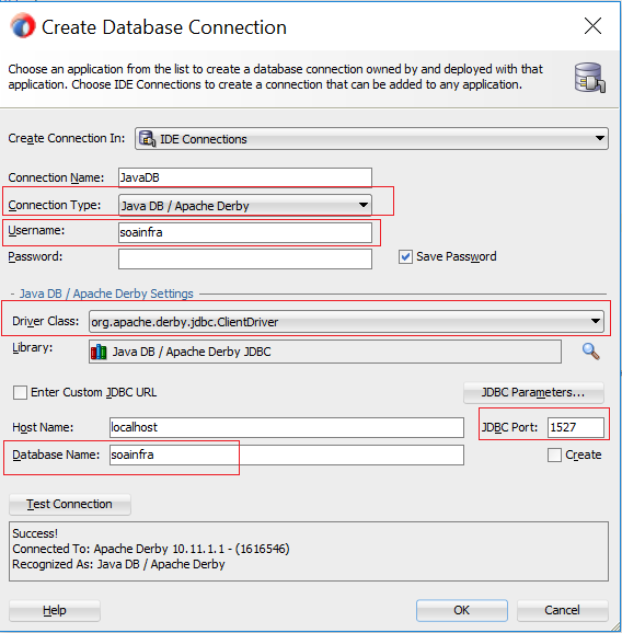 Create Java DB connection in JDeveloper 12 2 1 3 0