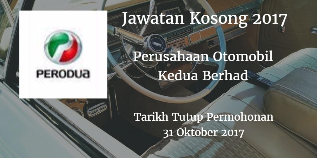 Jawatan Kosong PERODUA 31 Oktober 2017