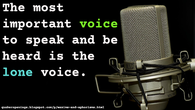 "Text overlaid on an image of a professional-quality microphone on a black background. Text reads: ""the most important voice to speak and be heard is the lone voice"""