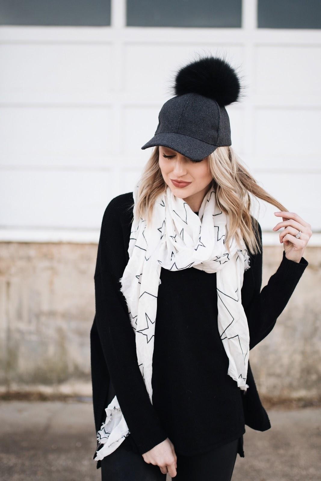 lightweight scarf + pom pom hat