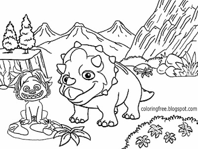 Prehistoric cartoon kid cave boy Spot the good dinosaur printable coloring pictures easy to color in