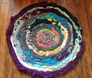 braided rug, eco-friendly, #green, repurpose, fabric, cotton, denim