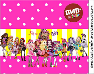 Etiquetas M&M de Ever After High Amarillo y Rosa para imprimir gratis.