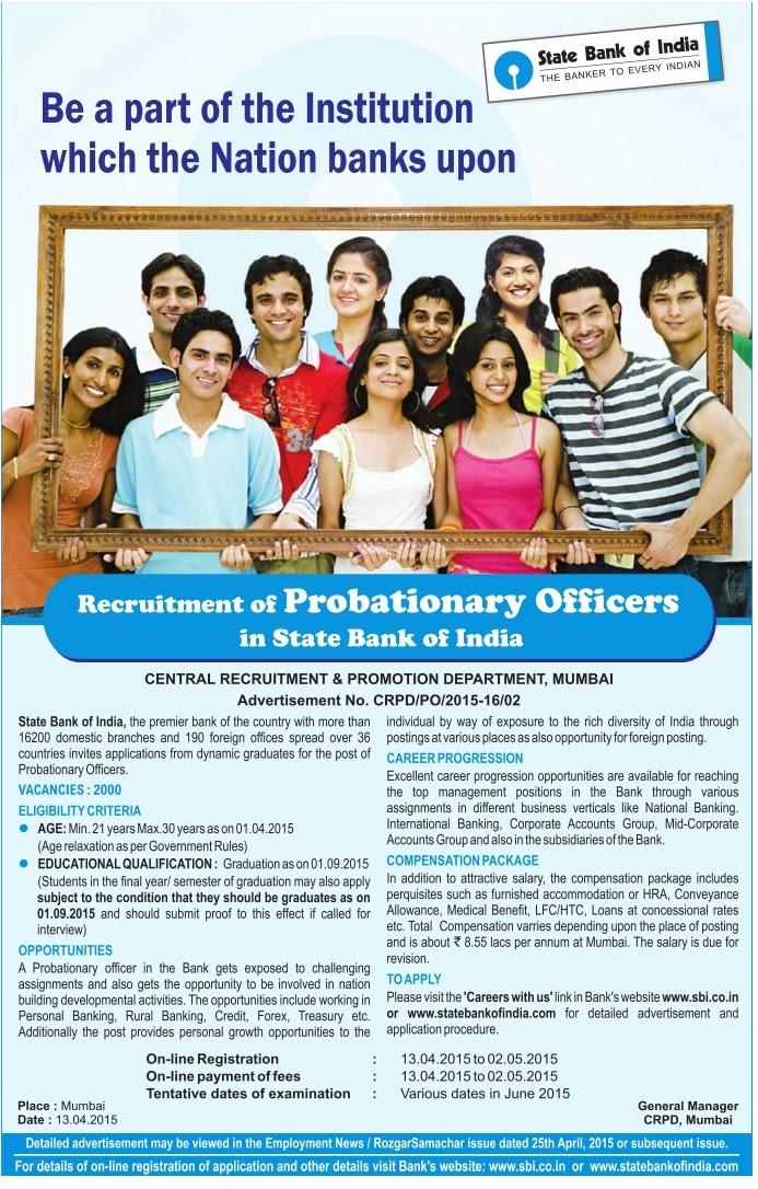 sbi po recruitment 2015 application last date