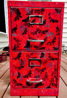 filing cabinet, upcycle, paint, create, art, stamp, stencil, deaths head moth
