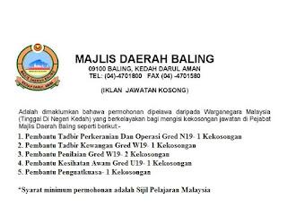 Majlis Daerah Baling Kerja Kosong