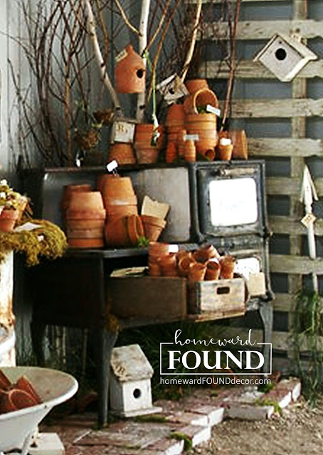raid the garden shed for materials to use in your spring decorating - inside and out! use a vintage stove as a potting bench! homewardFOUNDdecor
