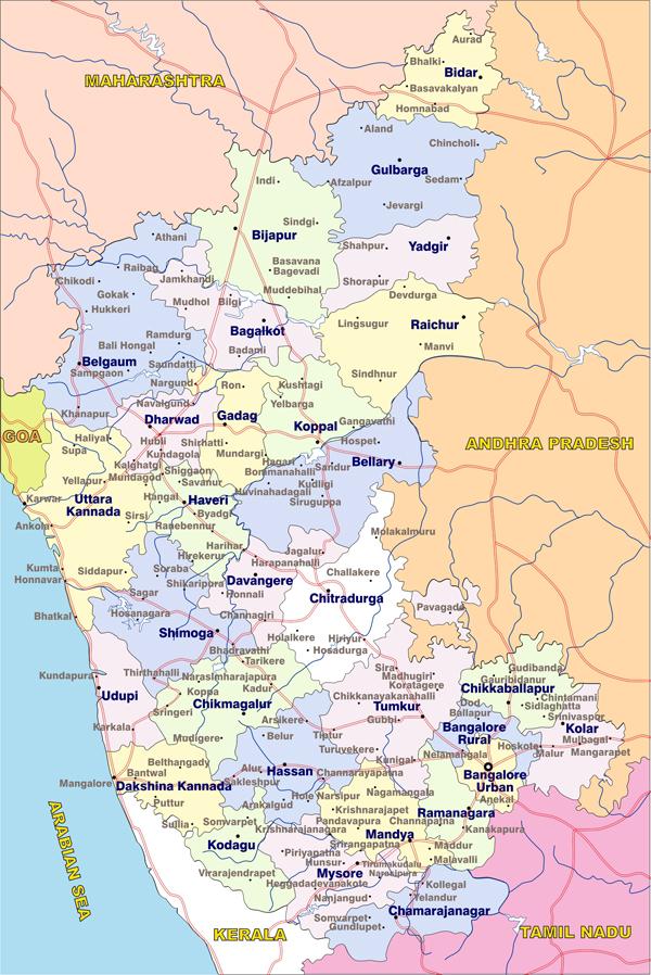 Karnataka map with distrcits