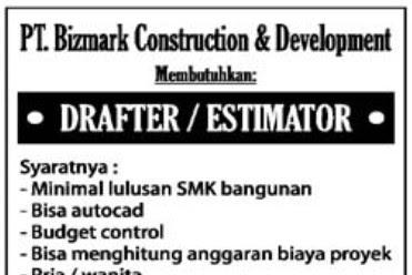 Lowongan Kerja PT. Bizmark Construction & Development