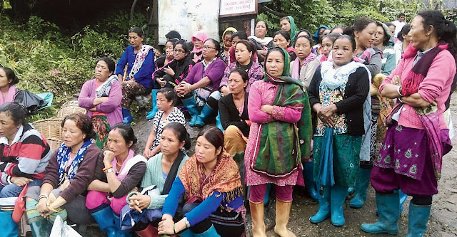 Workers and their families at a meeting organised by the GNLF's trade union at Chamong Tea Estate