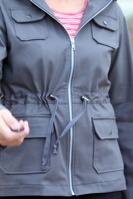 IndieSew Lonetree Jacket with zipper close, drawstring, cord stops and perfect pocket details