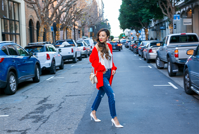 Topshop Wide Rib Cardigan, red cardigan, cami, blanknyc distressed jeans, chloe nile bag, sam edelman pumps, baublebar earrings, san francisco fashion blog, san francisco street style