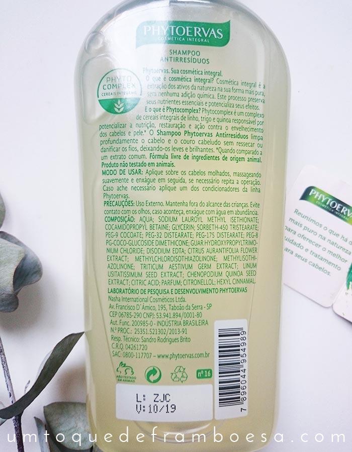 Ingredientes e informações contidas na embalagem do Shampoo Antirresíduos Phytoervas