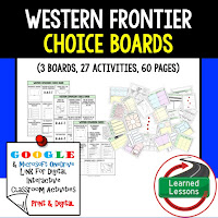 American History Digital Learning, American History Google, American History Choice Boards, Western Frontier