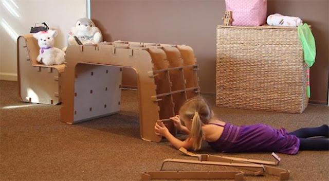 Decorando el hogar mesas hechas con cart n reciclado - Mesas de carton ...