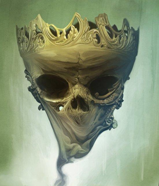 David Seidman arte ilustrações digitais surreais fantasia sombria caveiras terror onírico