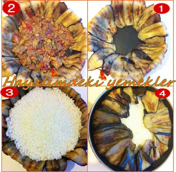 resimli kolay denemis degisik pilav tarifleri,Patlıcanlı Perde Pilavı