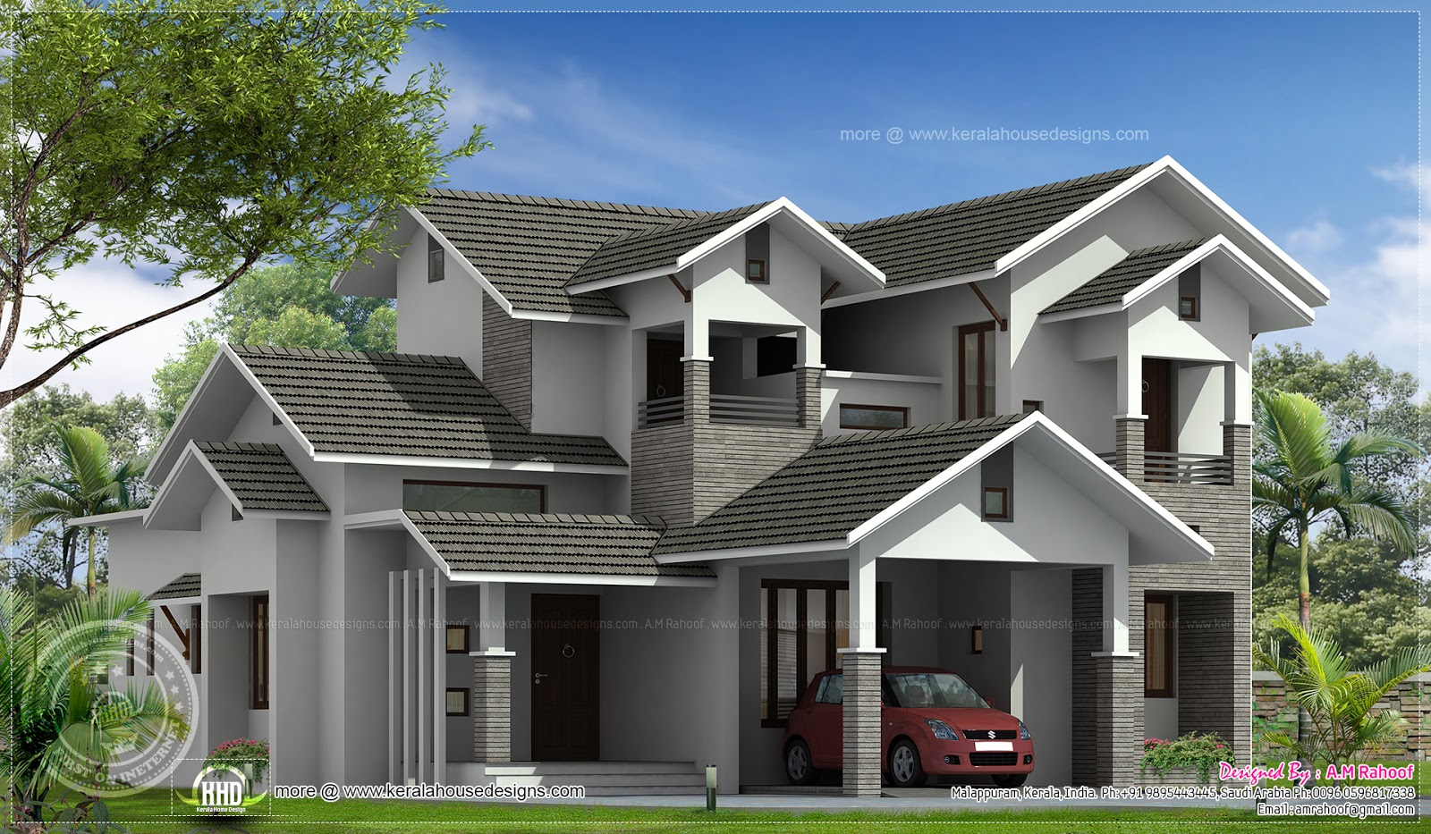 Double storied sloping roof home design kerala home for 1000 sq ft house front elevation