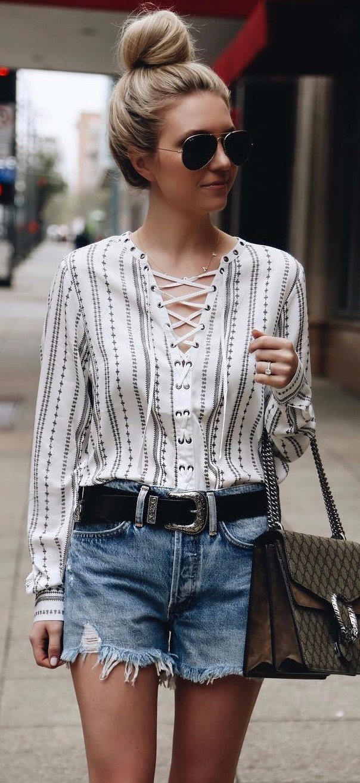 summer workwear   lace-up blouse + denim shorts