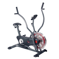 "Sunny Health & Fitness SF-B2640 Air Bike Trainer, review features compared with SF-B2706, with 17"" flywheel, belt-drive system, 4-way adjustable seat, 2-position handgrips"