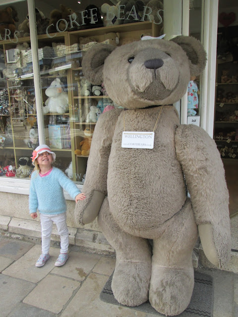 Lily and the giant rabbit cuddly toy