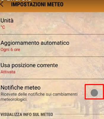 Come togliere le notifiche meteo su Android