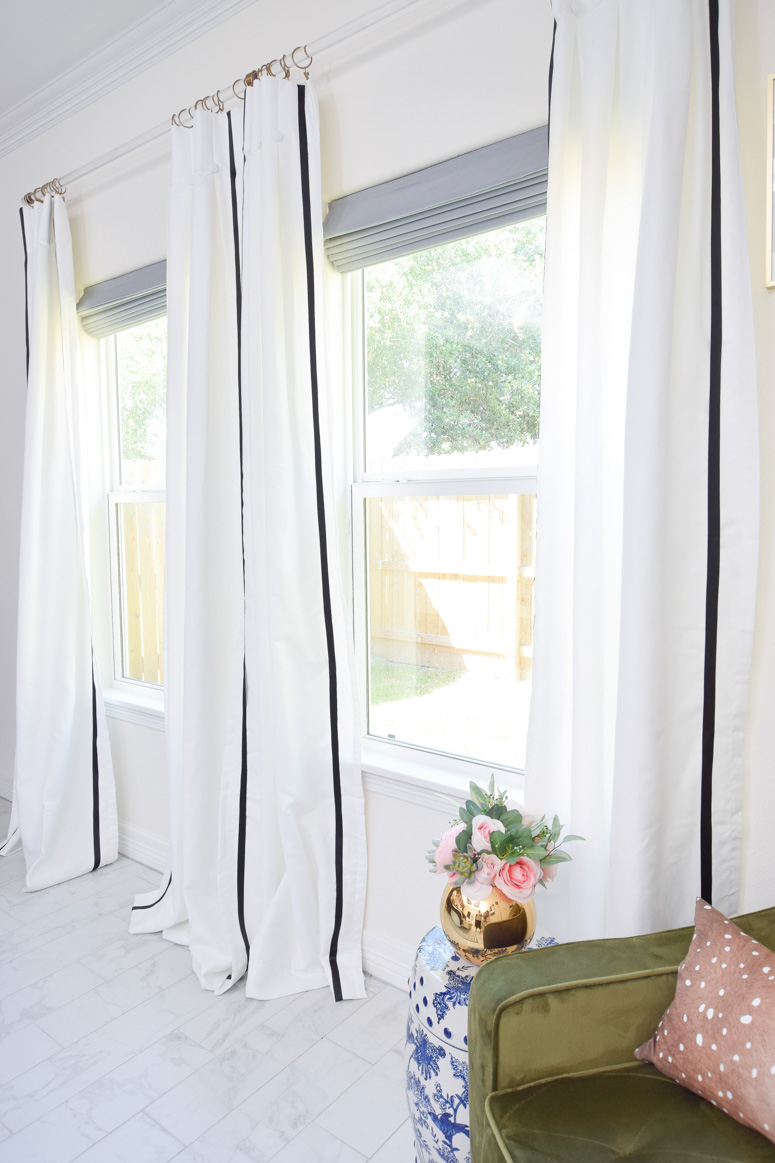 DIY black and white ribbon trimmed curtain panels iron-on
