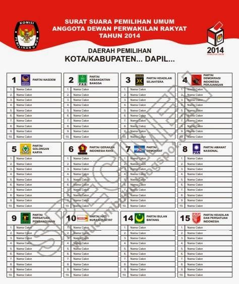 Download Contoh Surat Suara Pemilu 2014 Versi Corel Draw