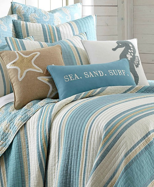 Blue Beach Striped Bedding Quilt Set With Seahorse Motif