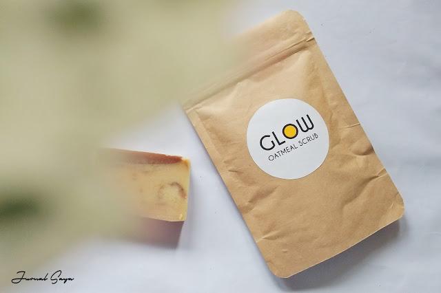 glow oatmeal scrub masker