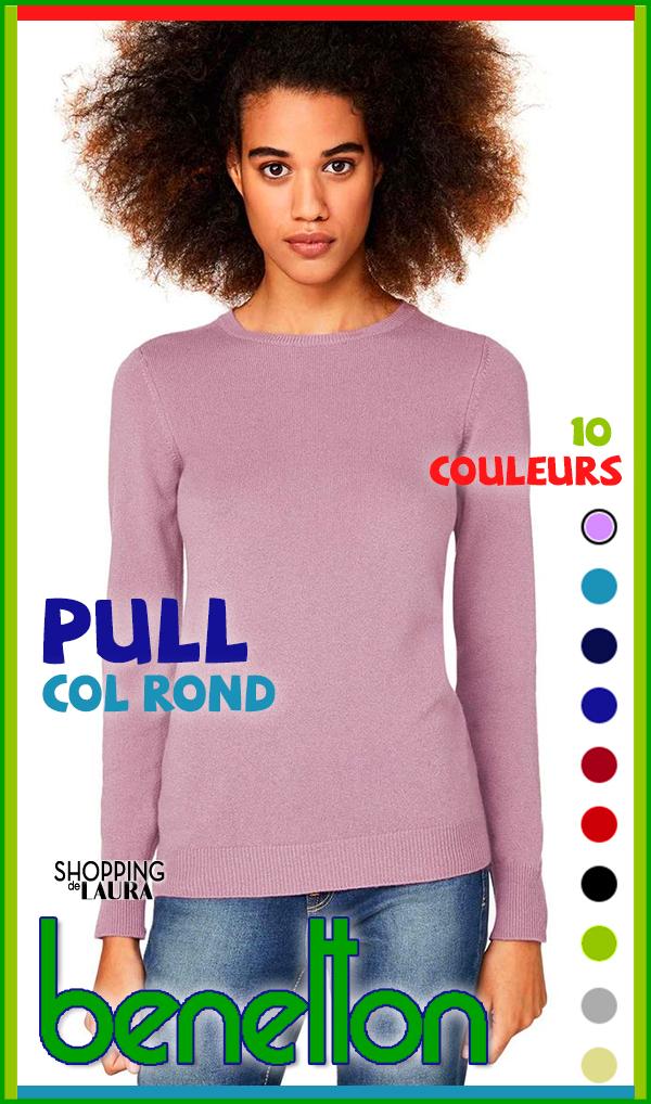 Pull mauve, noir, beige, gris, anis, turquoise, marine, indigo, rouge, ou bordeaux col rond Benetton