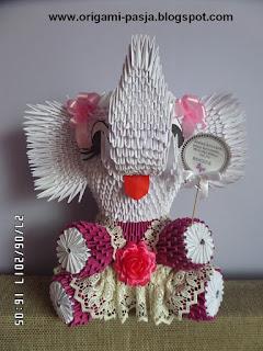 słoń, origami, roczek, dla dziewczynki, gipiura, biały, na szczęście,  3d, segmentowe, na urodziny, z okazji roczku, na prezent