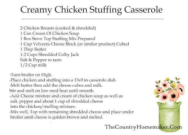 creamy chicken stuffing casserole