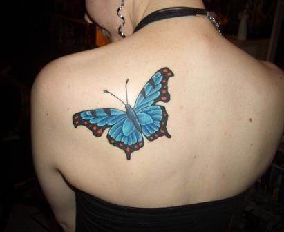 Foto Tattoo Design Butterfly Kupu Di Tubuh Wanita 1