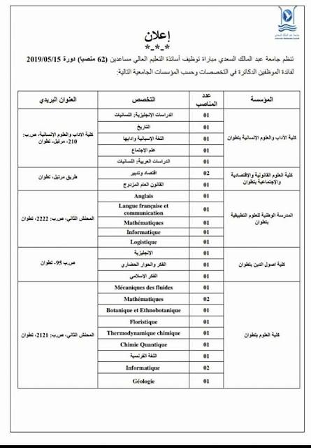 توظيف أساتذة التعليم العالي مساعدين (62 منصبا)بجامعة عبد المالك السعدي
