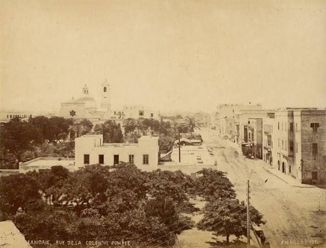 المنشية الصغيرة وطريق عمود السوارى سنة 1875  Mansheya 1875