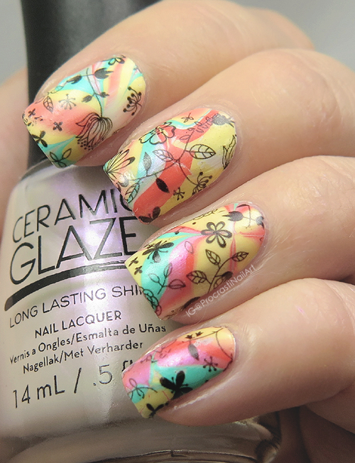 Nail Art Silk Matte Watermarble With Floral Decals Procrastinails