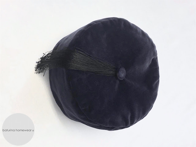 victorian style classic mens smoking cap navy blue soft cotton velvet warm tasseled tassel