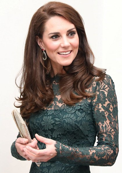 Kate Middleton wore Temperley London dress, KIKI McDonough Amethyst Drop Earrings, carried Wilbur & Gussie Clutch