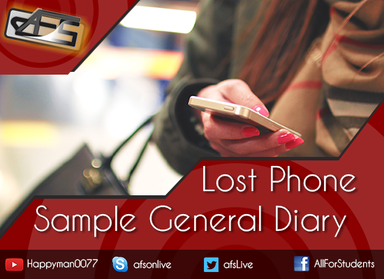 Lost mobile phone with SIM sample general diary application