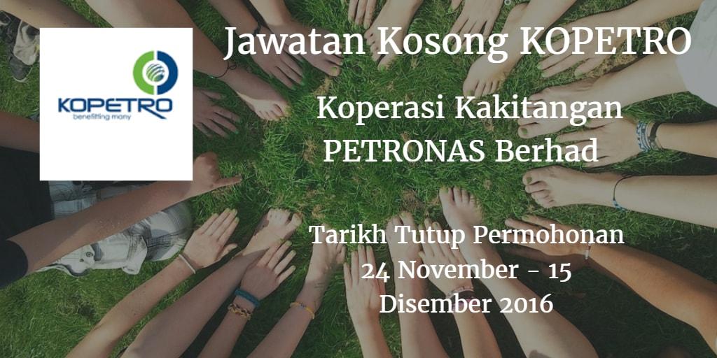 Jawatan Kosong KOPETRO 24 November - 15 Disember 2016