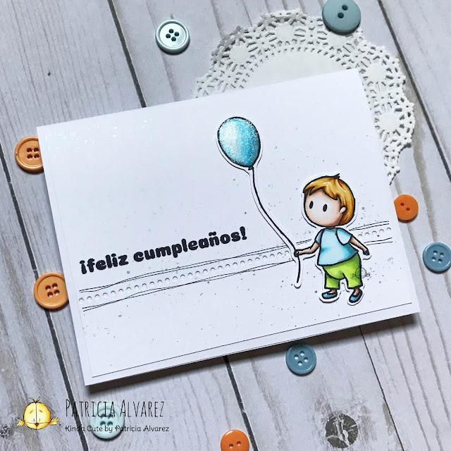 tarjeta de cumpleaños con sellos en español