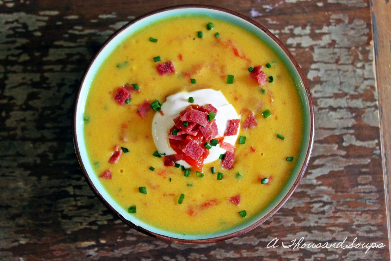 Sweet Corn Soup with Roasted Tomatoes and Bacon