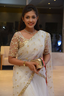 Madhu Shalini Stunning Mesmerizing in a Stone work lace border transparent choli transparent Saree