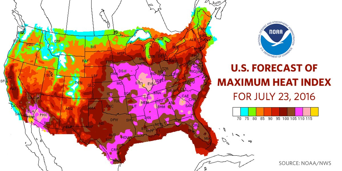 U.S. Forecast of maximum heat index for July 23, 2016