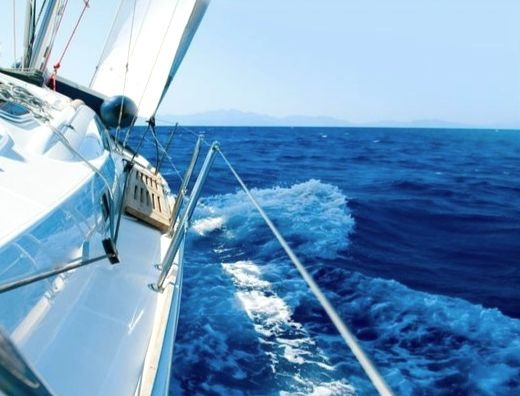 Nautical Color Inspiration from White Sailing Yacht in Blue Sea