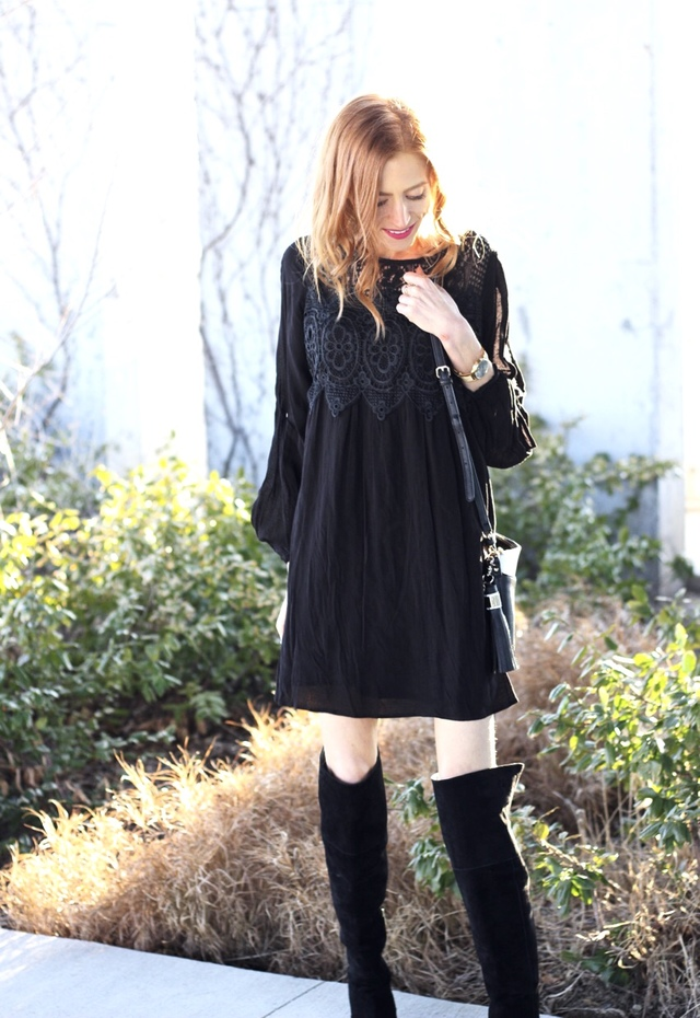 Target Lace Babydoll dress, Sam Edelman Elina Boots, Poppy & Peonies crossbody, Smashbox Always On Liquid Lipstick Shockaholic review