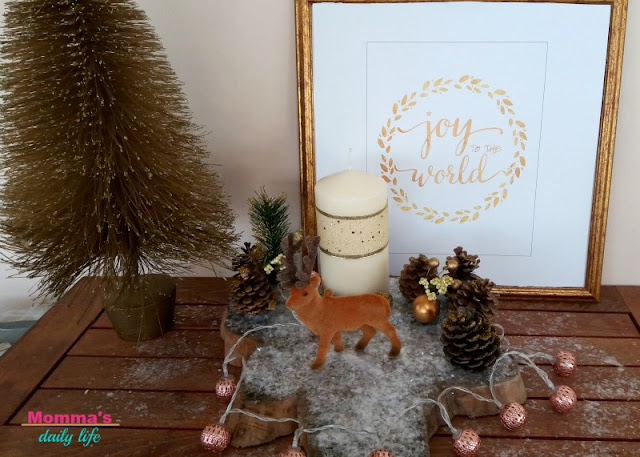 slice of wood centerpiece, xmas centerpiece